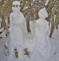 Auron and Lulu Snow Sculpture2 by auronlu