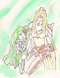 Rydia and Rosa, Final Fantasy IV by auronlu