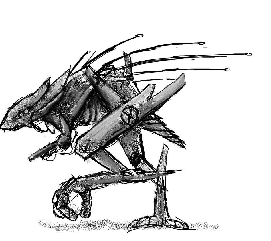 Biomechanical creature (concept art) by FeatherAmbara