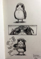 Inktober Days 21+22: The Only Reason Porgs Exist by KHoDrawsStuff789