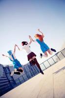 Evangelion - girls jump by Phoenixiaoio