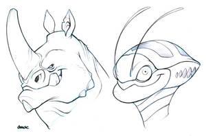Head Sketches by D-MAC