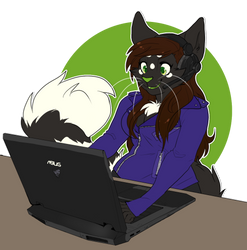 COMMISSION: gamer cat by Nekoshiba