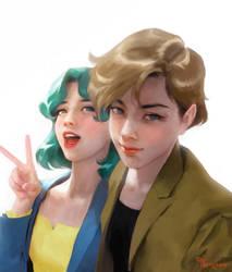 Haruka and Michiru by merkymerx