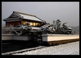 Japanese house in snow by stevezpj