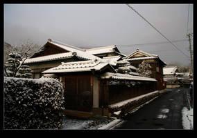 Japanese house in snow 2 by stevezpj