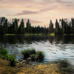 forest lake scene background by brandrificus