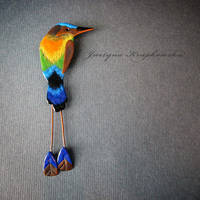 turquoise browed motmot brooch by szaranagayama