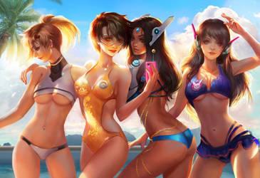 Overwatch beach time by jiuge