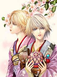 twins in kimono by jiuge