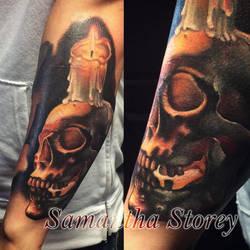 Realistic Skull Tattoo By Sam Storey by illogan