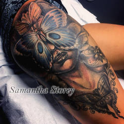 Butterfly and face tattoo awesome and scary by illogan