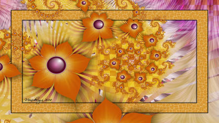 Blocked Orangy Flowers by miincdesign