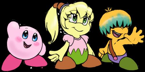 Kirby, Fumu, and Bun by FayeleneFyre