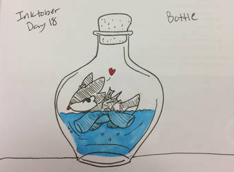 Inktober day 18: bottle by Meazigread