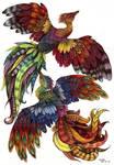 school project. phoenix. color by Liedeke