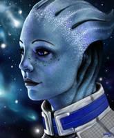 Tiny blue space nerd by Liedeke