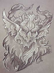 Chiroptera Dragon Sketch by KeeperofAges