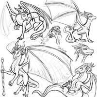 Dragon Sketch Dump by InkRose98