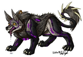 Direwolf and Panther Chimera by InkRose98