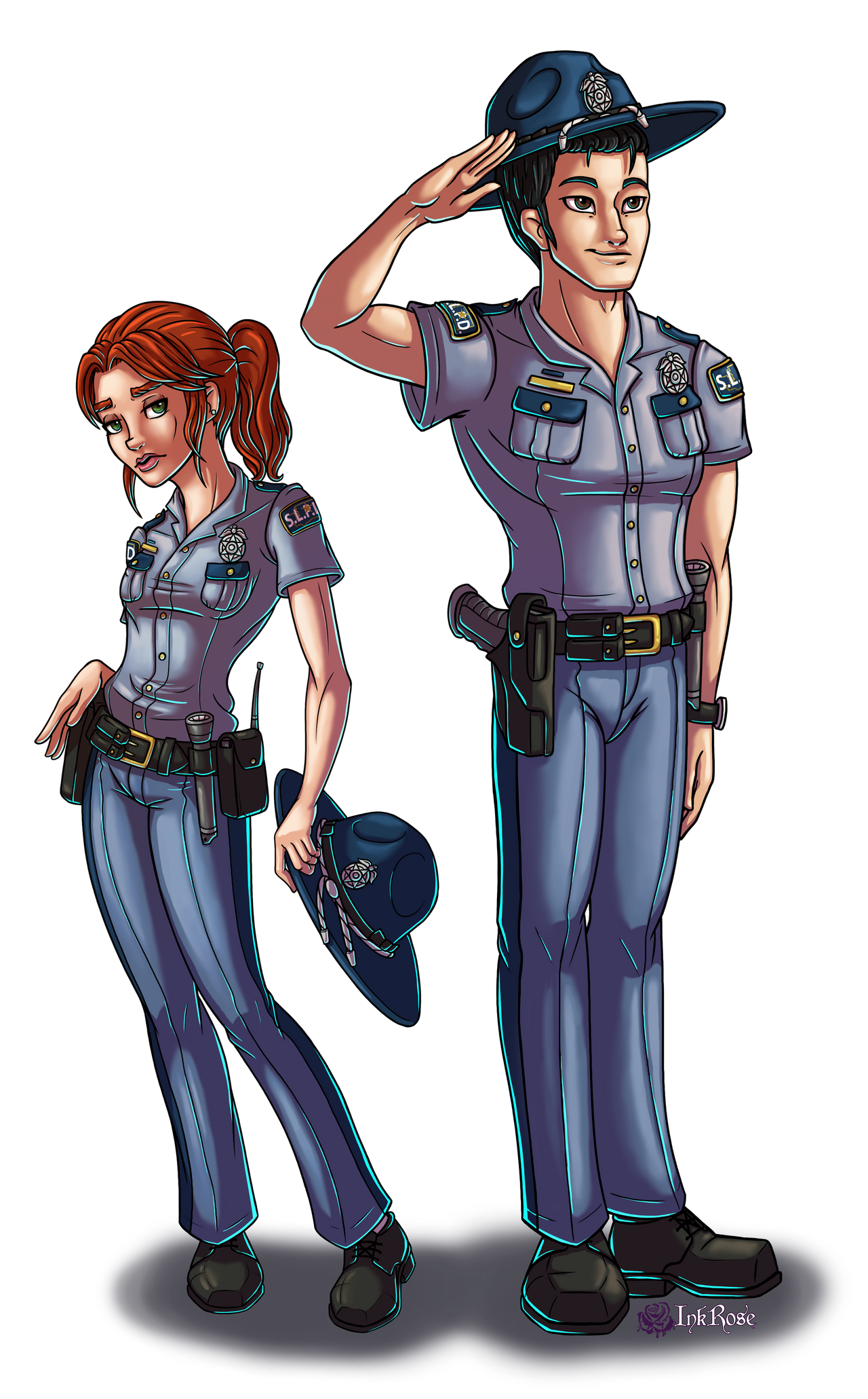 Officer Quinn and Detective Zhou by InkRose98
