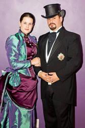 Steampunk Bustle Gown by ladyrose04