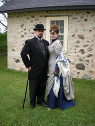 Steampunk Walking Dress by ladyrose04