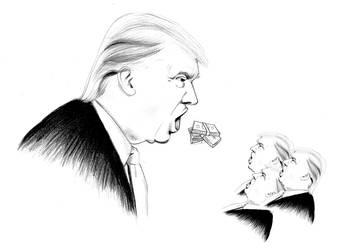 Mother trump feeding its trumplings by sabrinametal