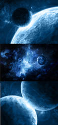 Three blue space scenes by Denece-the-sylcoe