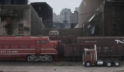 Weird train passing through the ghetto by jpachl