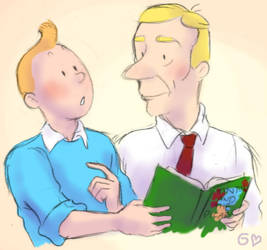 Tintin and Herge by Gorseheart