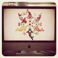Kawaii Koi Lotus Mandala iMac by KawaiiUniverseStudio