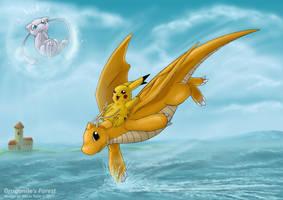 Pikachu riding the Dragonite by akelataka