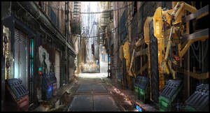 Near future back alley by RobertDBrown