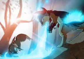 Devin and Lightphire (PMDTE fanart) by SpeedBoostTorchic