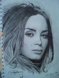 Freehand Emily Blunt Sketch by Gareth-Jenkinson-Art