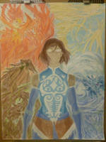 Korra and the Four Elements by manga10