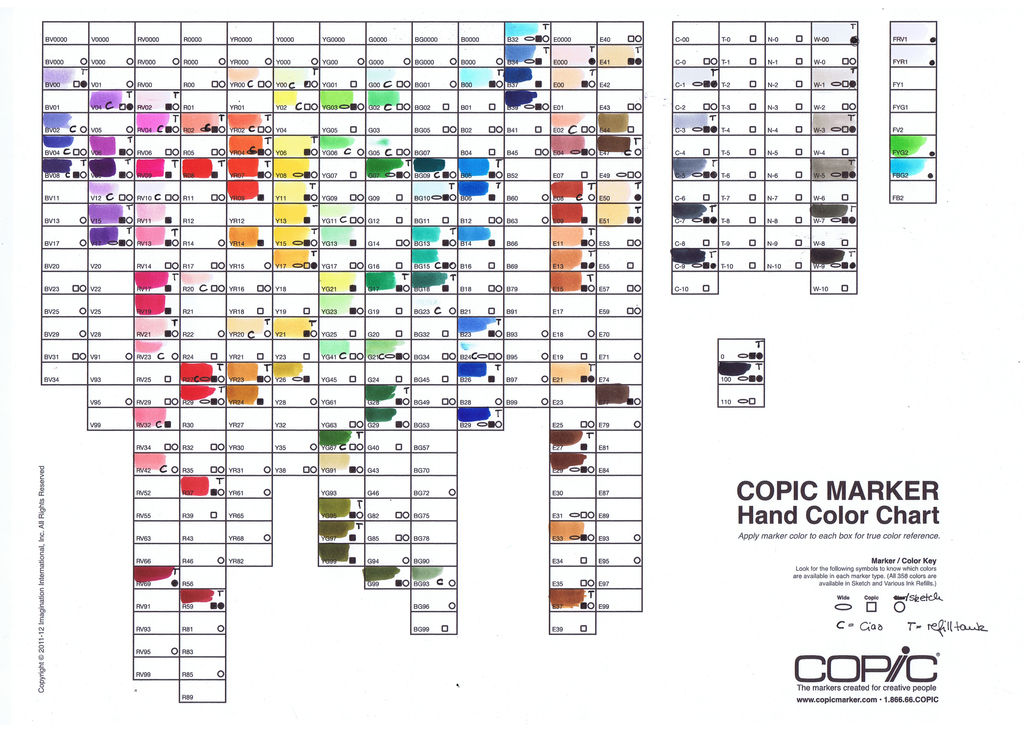 Copic Marker Color Chart By Pink Gizzy