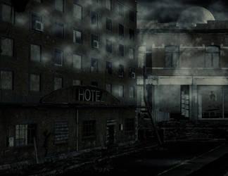 Ruin stock city night by Ecathe