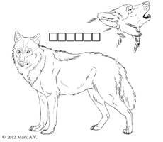 Free wolf ref lineart by waltwoor