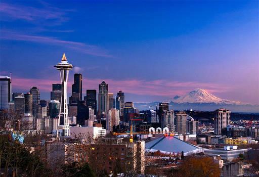 Seattle Skyline with Mount Rainier by LarryGorlin