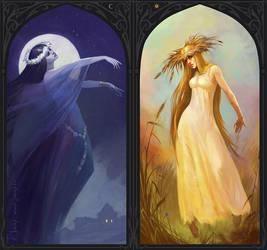 night spirit and spirit of the day by Gellihana-art