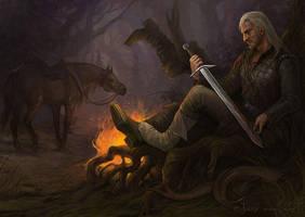 Geralt - After hunting by Gellihana-art