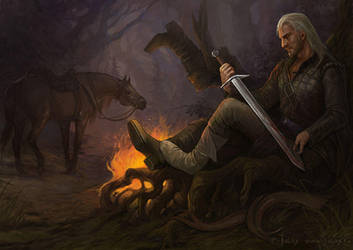 Geralt - After hunting by Gellihana-art