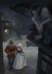 Rainy night fairy tale by Gellihana-art