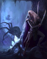 In the Cave - Drizzt Do'Urden by Gellihana-art