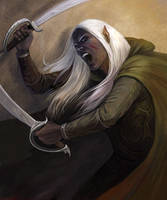 Drow warrior by Julaxart