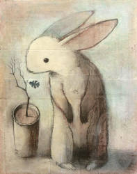 Rabbit with Oak Leaf by SethFitts