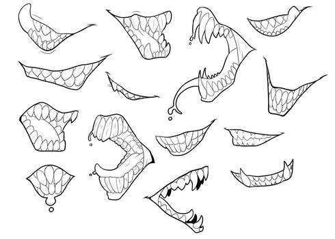 F2U Lineart - Yet More Teeth by ShadowInkWarrior