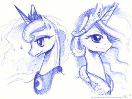 Luna and Celestia by KP-ShadowSquirrel